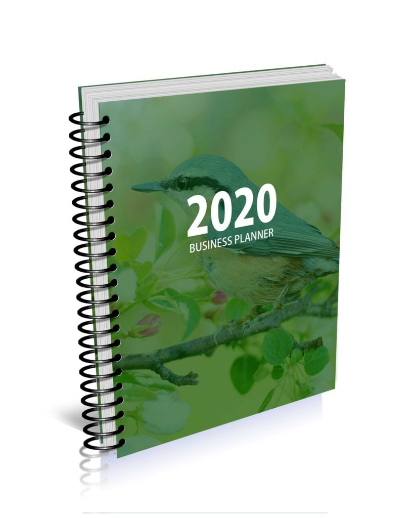 MBS 2020 Business Planner - Spring Bird Green Cover - Option 4